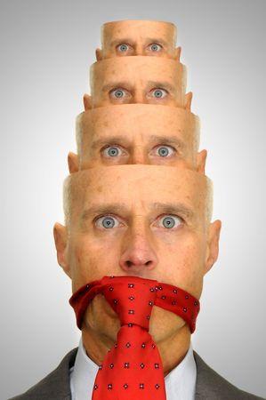 matrioska: Businessman with several heads  in matrioska way