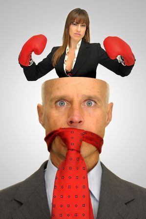 Businessman head open with woman inside taking control Stock Photo - 8341654