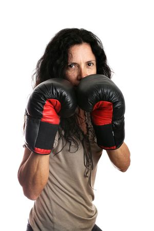 woman with boxing gloves isolated in white photo