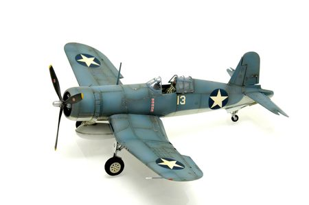 wwii: Model kit of an WWII american fighter isolated in white