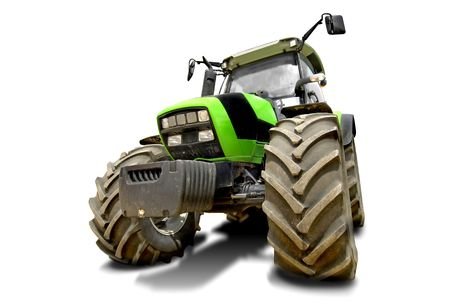 agricultural equipment: Green tractor isolated in white Stock Photo