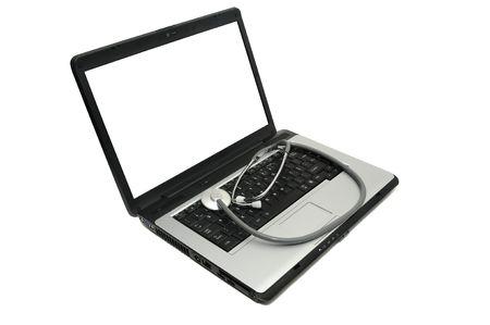 Laptop with stethoscope photo