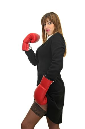 Business woman with boxing gloves isolated in white photo