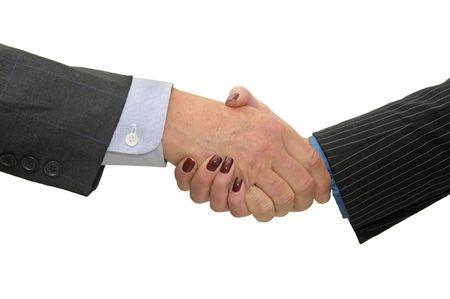 pacto: Empresario hacer un pacto aislado en un fondo blanco Foto de archivo