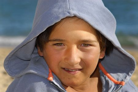 hooded shirt: Boy posing with hooded shirt Stock Photo