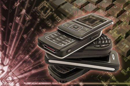 Several cellphones with hightech background Stock Photo - 5593323