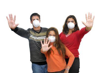 flu virus: Grupo de ni�os con m�scaras contra la gripe Foto de archivo