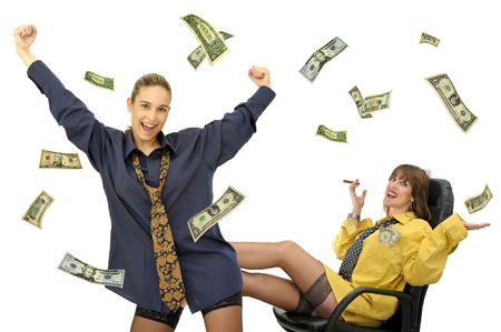 sexy business women: Sexy business women team with dollares flying isolated in white