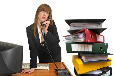 Business woman with phone and stack of files isolated in white Stock Photo - 5660623