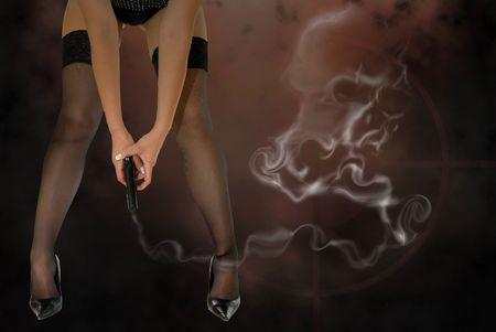 Womans legs and gun with deadly smoke photo