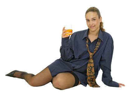 Sexy business girl with whiskey glass isolated in white photo