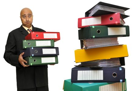 Businessman with files isolated in white Stock Photo - 5721827