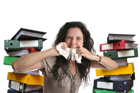 Insane woman with stacks of files around isolated in white Stock Photo - 5746154