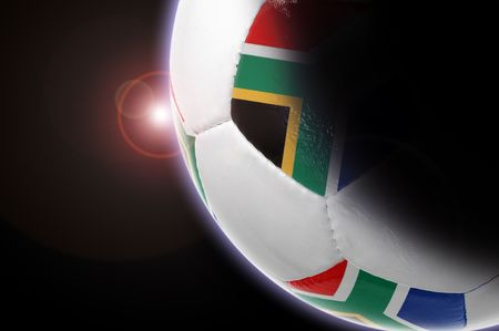 Illustration of a planet with the South African flag soccer ball  illustration