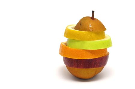 Pear made of different fruit slices isolated in white photo