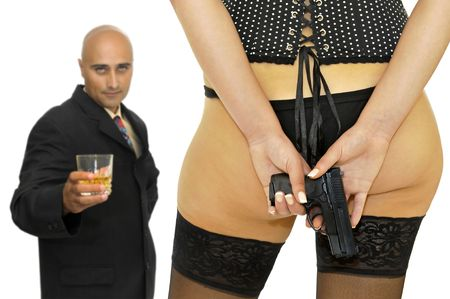 stoking: Woman hiding a gun from a businessman, isolated in white Stock Photo