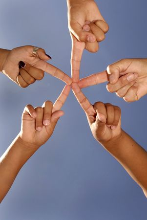 Hands together forming a star Stock Photo - 5884673