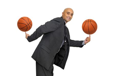 basketballs: Businessman with several basketballs isolated in white