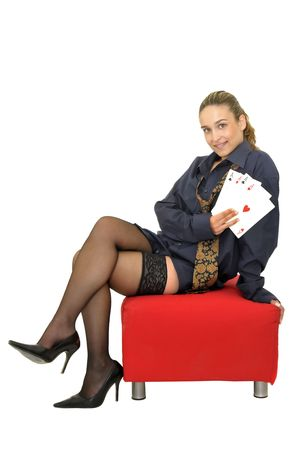 Sexy business girl with playing cards isolated in white Stock Photo - 5969267
