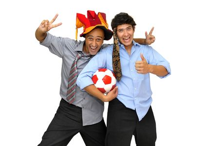 fairplay: Two businessman with a soccer ball, partying isolated in white