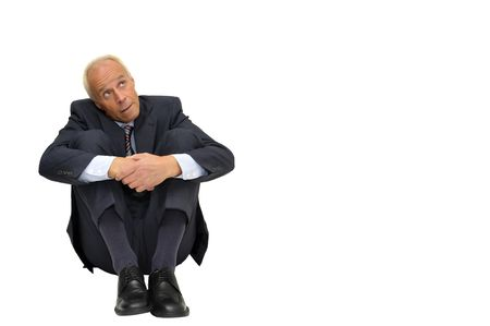 affraid: Scared mature businessman isolated in white Stock Photo
