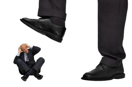 affraid: Mature businessman affraid of big CEO isolated in white