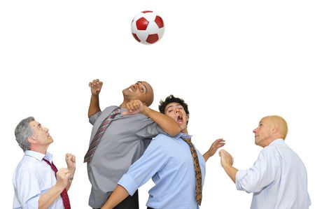 Businessmen playing  soccer isolated in white Stock Photo - 6191489