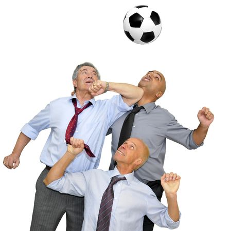 Businessmen playing  soccer isolated in white photo