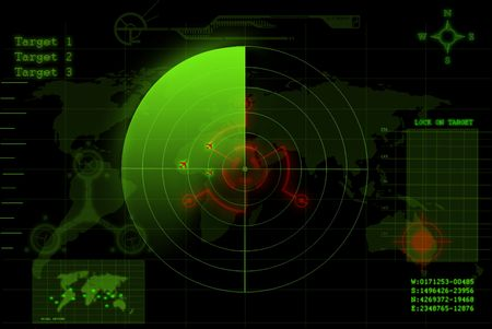 detect: illustration of a green radar screen Stock Photo