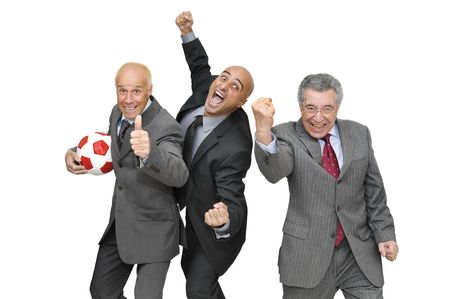 football world cup: Happy businessmen celebrating with a soccer ball isolated in white