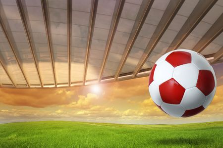 Soccer background with a ball outdoors photo