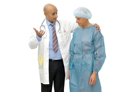 Doctor talking to his patient isolated in white