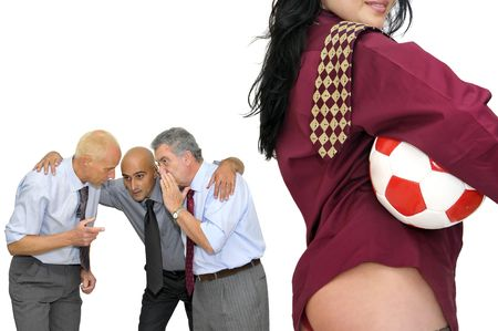 Businessmen team talking tactics for a soccer gamewith hot girl isolated in white photo