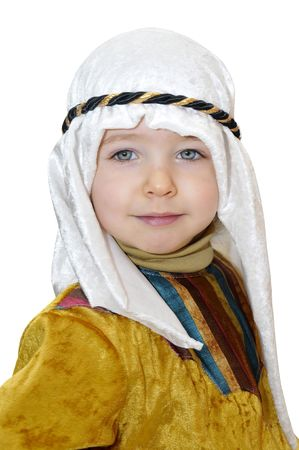 boy arabic: Little boy with arabic prince costume isolated in white