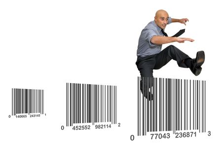 codebar: Businessman jumping over barcodes  isolated in white Stock Photo