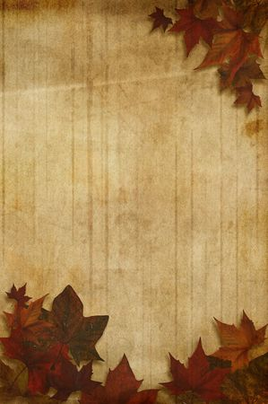 Autumn background with maple leaves over a weathered paper photo