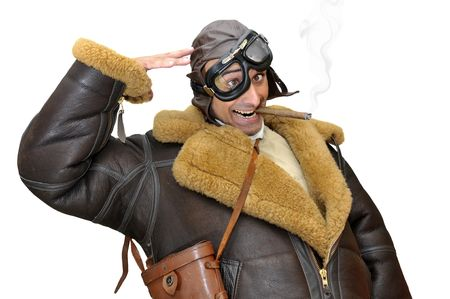 fighter pilot: Piloto de caza divertido saludando aislado en blanco Foto de archivo