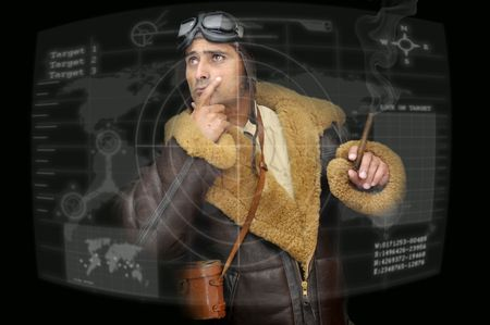 adventure aeronautical: Fighter pilot looking at a radar in a black background