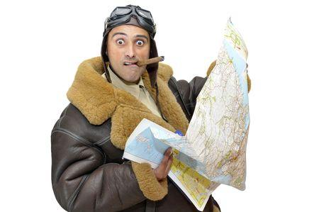 fighter pilot: Piloto de caza con mapa aislado en blanco
