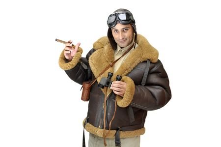WWII fighter pilot with cigar isolated in white photo
