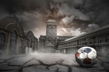 Illustration of an abandoned factory with old soccer ball illustration