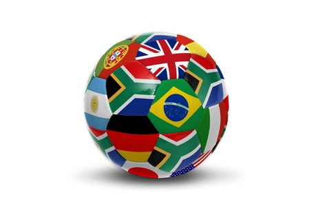 brazil country: Soccer ball with several  flags for the world cup  isolated in white Stock Photo