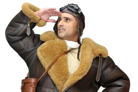 fighter pilot: Piloto de caza de la WWII aislado en blanco