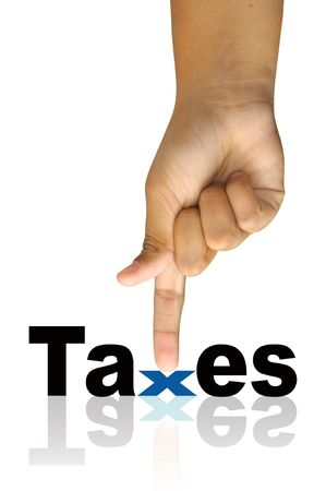 excise: Hand with taxes word isolated in white