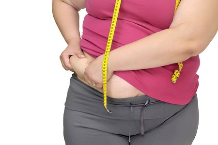 Body part of a fat woman with measuring tape Stock Photo - 7051493