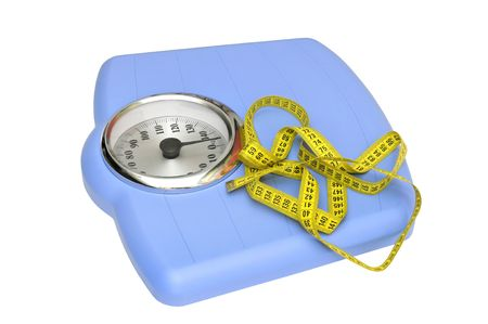 Blue bathroom scale and measuring tape isolated in white photo