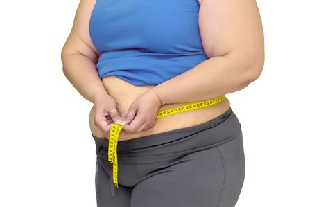 oversize: Body part of a fat woman with measuring tape