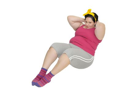 gluttonous: Large girl doing fitness exercises isolated in white