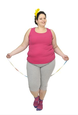 body curve: Large girl doing fitness exercises isolated in white