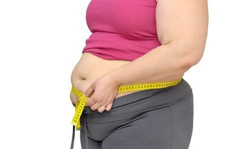 gluttonous: Body part of a fat woman with measuring tape